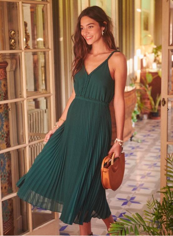 vestido verde midi