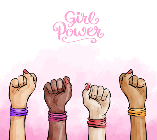 fists in the air for girl power.