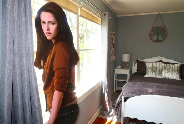 interior of AIrbnb Twilight home with a Bella Swan cutout